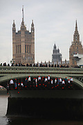 25  young activists from Crazy Talk took to Westminster Bridge and hanged twenty human figures from the bridge to raise awareness to the increased rates of youth suicide in London, January 10th 2019, Central London, United Kingdom. The twenty dummies represented the twenty young people between ten and nineteen who took their own lives in London in 2017.<br /> All the young activists involved in the action have either considered or attempted suicide themselves.