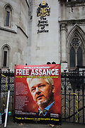 A banner placed by supporters of Wikileaks founder Julian Assange outside the High Court following a March for Assange from BBC Broadcasting House organised by the Dont Extradite Assange campaign is pictured on 23rd October 2021 in London, United Kingdom. The US government will begin a High Court appeal on 27th October against a decision earlier this year not to extradite Assange to face espionage charges in the United States. Assange has been held in Belmarsh Prison since 2019.