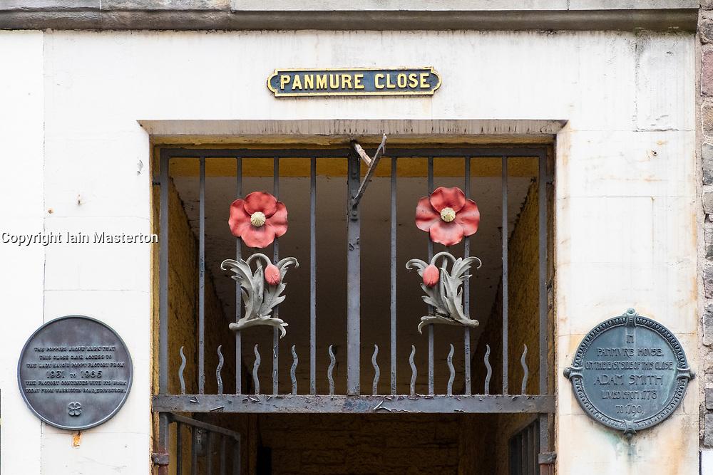 Detail of Panmure Close decoration on Royal Mile in Edinburgh Old Town, Scotland, United Kingdom