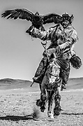 Kazakh eagle hunter riding in the Altai mountains with their golden eagles on horseback, black and white,Altai Mountains, Bayan Ulgii, Mongolia