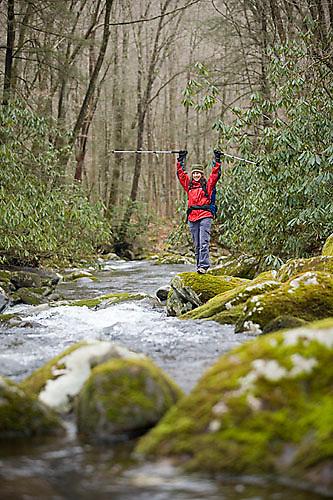 Young woman hiking in Great Smokies National Park, North Carolina..MR code: 052