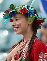 SOCHI, July 7, 2018  A fan is seen prior to the 2018 FIFA World Cup quarter-final match between Russia and Croatia in Sochi, Russia, July 7, 2018. (Credit Image: © Yang Lei/Xinhua via ZUMA Wire)