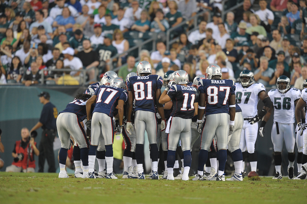 PHILADELPHIA - AUGUST 13:  The New England Patriots huddle during the game against the Philadelphia Eagles on August 13, 2009 at Lincoln Financial Field in Philadelphia, Pennsylvania. (Photo by Drew Hallowell/Getty Images)  *** Local Caption ***