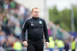 Hibernian's manager Neil Lennon at the end at the Hibs fans. Falkirk 1 v 2 Hibernian, the first Scottish Championship game of season 2016/17, played 6/8/2016 at The Falkirk Stadium.