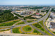 Nederland, Noord-Holland, Amsterdam, 29-06-2018; knooppunt Amstel (ring A10 - A2) met zicht op Amstel Business Park.<br /> Ring road Amsterdam-South.<br /> <br /> luchtfoto (toeslag op standard tarieven);<br /> aerial photo (additional fee required);<br /> copyright foto/photo Siebe Swart
