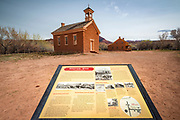 Interpretive sign and historic buildings, Grafton ghost town, Utah USA