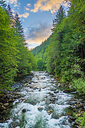 The Taylor River is a river in King County in Washington. The river starts at the outlet of Bear Lake, and then drops over a small waterfall before entering Deer Lake. After exiting Deer Lake, it drops over another waterfall, this one much larger than the first, before entering the largest and foremost of the three lakes on the Taylor River, Snoqualmie Lake. After exiting Snoqualmie Lake, the river then drops over another good sized waterfall as it drops over the headwall below the lake. Near the bottom, it receives the creek that drains Nordrum, Judy and Carole Lakes, and then turns from west to northwest before soon turning west again. The river receives three large tributaries, Big Creek, Otter Creek and Marten Creek, all of which drop over large waterfalls before entering the river. After receiving Marten Creek, the river turns south towards its confluence with the Middle Fork Snoqualmie River. Shortly before entering the river, it receives one more major tributary, Quartz Creek.