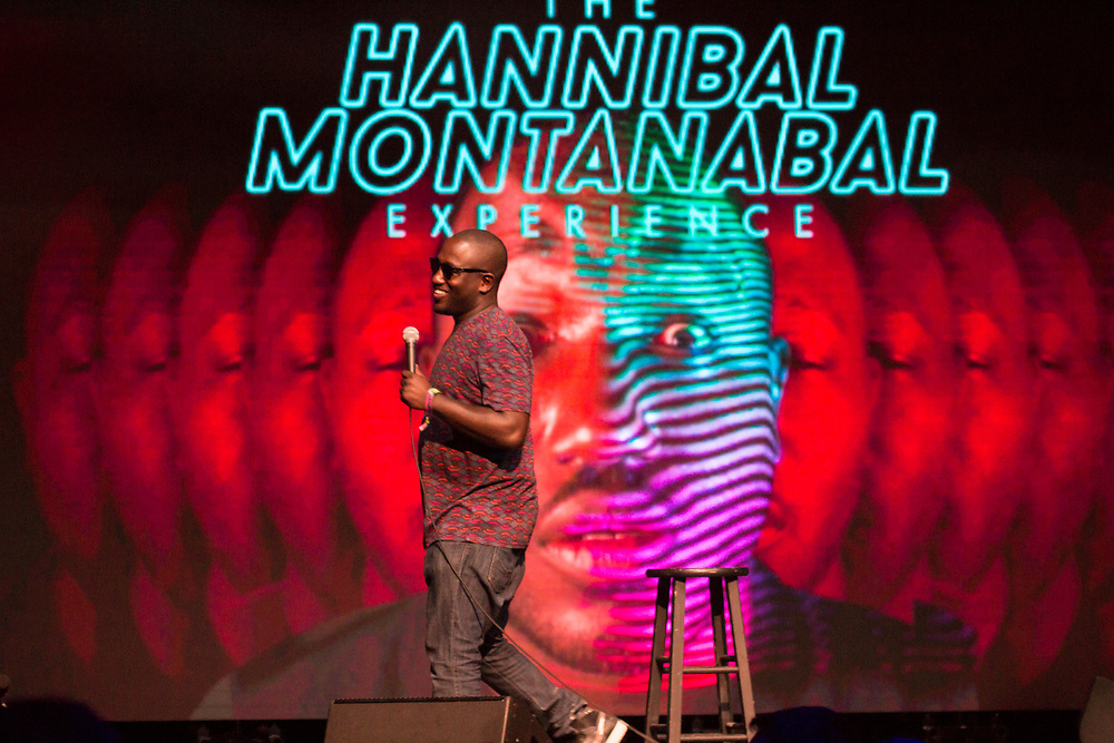 Hannibal Buress performing at the Bonnaroo Comedy Tent in Manchester, TN on June 10, 2017.