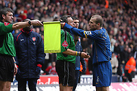 Photo: Alan Crowhurst. <br /> Southampton v Arsenal, 26/02/2005, Barclays Premiership. Freddie Ljungberg argues with the linesman after Ashley Cole's goal was dissallowed.