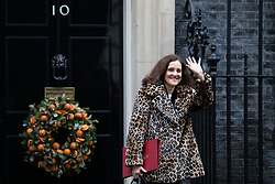 © Licensed to London News Pictures. 17/12/2019. London, UK. Environment, Food and Rural Affairs Secretary Theresa Villiers leaving Downing Street after attending a Cabinet meeting this morning. Photo credit : Tom Nicholson/LNP