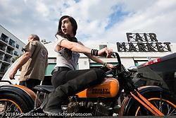 Christin Delshadi after the Handbuilt Motorcycle Show. Austin, TX, . April 12, 2015.  Photography ©2015 Michael Lichter.