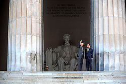 President Barack Obama and Prime Minister Shinzo Abe of Japan visit the Lincoln Memorial in Washington, D.C., April 27, 2015. (Official White House Photo by Chuck Kennedy)<br /> <br /> This official White House photograph is being made available only for publication by news organizations and/or for personal use printing by the subject(s) of the photograph. The photograph may not be manipulated in any way and may not be used in commercial or political materials, advertisements, emails, products, promotions that in any way suggests approval or endorsement of the President, the First Family, or the White House.
