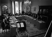 28/04/1965<br /> 04/28/1965<br /> 28 April 1965<br /> Ford dealers conference at the Glencormac House Hotel, Wicklow. Those names that can be read are l-r: B. Corr; Paddy  Haigh?; James Marley Alan Simpson. Top table l-r: Alex Hoare; Joe Hall; William Kearney; Paul Flanagan and Tony OSullivan?. On right table l-r: Barry Egan; -; Pat Gearthy; Michael Healy; John Morrison.