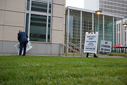 August 8, 2017 - Denver, Colorado, U.S - Court workers place signs at the Taylor Swift Groping Trial against radio DJ David Mueller at the Alfred A. Arraj United States Courthouse in Denver, Colorado, U.S., on Tuesday, August 8, 2017. (Credit Image: © Matthew Staver via ZUMA Wire)
