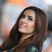 19 August 2012: A Monster Energy Drink umbrella model prior to the Red Bull Indianapolis Gran Prix MOTO GP at the Indianapolis Motor Speedway in Indianapolis, IN..
