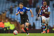 Marc Pugh of Bournemouth (L) in action with Jordan Ayew of Aston Villa chasing.<br /> Barclays Premier League match, Aston Villa v AFC Bournemouth at Villa Park in Birmingham, The Midlands on Saturday 09th April 2016.<br /> Pic by Ian Smith, Andrew Orchard Sports Photography.