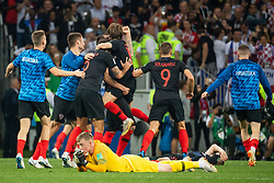 July 11, 2018 - Moscow, Russia - 180711 goalkeeper Jordan Pickford of England looks dejected while players of Croatia celebrate after winning the FIFA World Cup semi final match between Croatia and England on July 11, 2018 in Moscow..Photo: Petter Arvidson / BILDBYRÃ…N / kod PA / 92085 (Credit Image: © Petter Arvidson/Bildbyran via ZUMA Press)