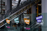 The day after the government introduced a third Coronavirus pandemic national lockdown, effectively a Tier 5 restriction, empty escalators lead up to deserted corporate offices in Leadenhall, as the capital experiences a grim post-Christmas and millions of Britons are told to stay at home, on 5th January 2021, in London, England.