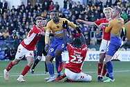 Naby Sarr of Charlton Athletic (23) goes down in the box and wants a penalty during the The FA Cup match between Mansfield Town and Charlton Athletic at the One Call Stadium, Mansfield, England on 11 November 2018.