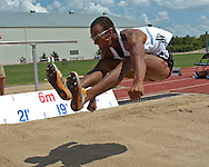 Germany's Jacob Minah finished the long jump with a jump of 7.41 meters, at the Nike Combined Events Challenge at the R.V. Christian Track Complex on the campus of Kansas State University in Manhattan, Kansas, August 5, 2006.