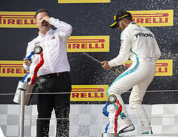 Ron Meadow (Mercedes team manager), Lewis Hamilton from UK (Mercedes AMG Petronas Motorsport) 1st classified pose on the podium of the Gran Prix of France 2018, Le Castellet on June 24th, 2018. Photo by Marco Piovanotto/ABACAPRESS.COM