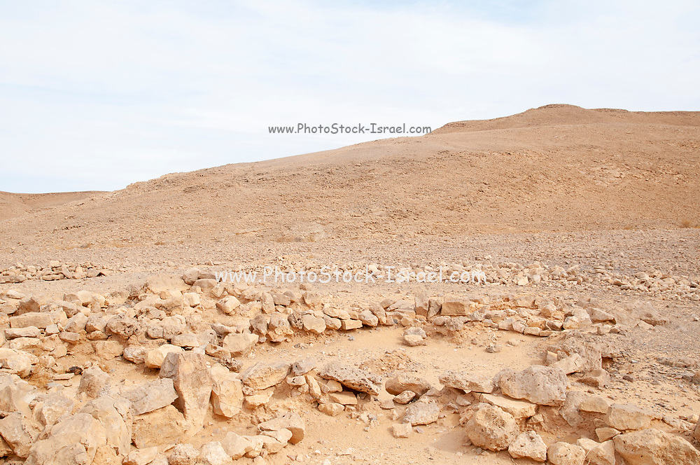 prehistoric granary and threshing floor site in the Uvda valley desert region, Negev, Israel. These sites have been dates to  have been dated to the Bronze age 6th–3rd Millennia BC