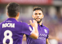 August 4, 2018 - Orlando, FL, U.S. - ORLANDO, FL - AUGUST 04: Orlando City celebrates with Orlando City midfielder Tony Rocha (8) during the MLS soccer match between the Orlando City SC and  New England Revolution on August 4th, 2018 at Orlando City Stadium in Orlando, FL. (Photo by Andrew Bershaw/Icon Sportswire) (Credit Image: © Andrew Bershaw/Icon SMI via ZUMA Press)