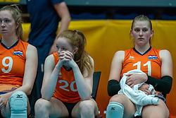 Britte Stuut of Netherlands, Rixt van der Wal of Netherlands, Elles Dambrink of Netherlands after semi final Netherlands - Serbia, FIVB U20 Women's World Championship on July 17, 2021 in Rotterdam