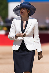 © Licensed to London News Pictures. 12/07/2017. London, UK.  British Prime Minister THERESA MAY attends the Ceremonial Welcome at Horse Guards Parade for His Majesty King Felipe VI of Spain and Her Majesty Queen Letizia during a three day State visit. Photo credit: Ray Tang/LNP