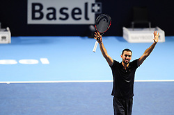 October 30, 2016 - Basel, Basel, Switzerland - Marin Cilic (CRO) cheers after winning the final of the Swiss Indoors at St. Jakobshalle in Basel, Switzerland on October 30, 2016. (Credit Image: © Miroslav Dakov/NurPhoto via ZUMA Press)