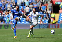 Cardiff City's Ashley Richards vies for possession with Leeds United's Luke Ayling<br /> <br /> Photographer Ashley Crowden/CameraSport<br /> <br /> The EFL Sky Bet Championship - Cardiff City v Leeds United - Saturday 17 September 2016 - Cardiff City Stadium - Cardiff<br /> <br /> World Copyright © 2016 CameraSport. All rights reserved. 43 Linden Ave. Countesthorpe. Leicester. England. LE8 5PG - Tel: +44 (0) 116 277 4147 - admin@camerasport.com - www.camerasport.com