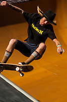 Jack Fardell, professional skateboarder during competitions at the Beach Bowl during the Australian Open of Surfing at Manly Beach, Sydney, New South Wales, Australia