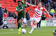 Bright Enobakhare goes for the ball during the EFL Sky Bet League 1 match between Doncaster Rovers and Coventry City at the Keepmoat Stadium, Doncaster, England on 4 May 2019.