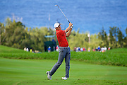 January 09 2016: Jordan Spieth hits his second shot on number ten during the Third Round of the Hyundai Tournament of Champions at Kapalua Plantation Course on Maui, HI. (Photo by Aric Becker)