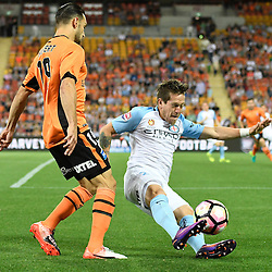 BRISBANE, AUSTRALIA - OCTOBER 30: Fernando Brandan of Melbourne tackles Jack Hingert of the Roar during the round 5 Hyundai A-League match between the Brisbane Roar and Melbourne City at Suncorp Stadium on November 4, 2016 in Brisbane, Australia. (Photo by Patrick Kearney/Brisbane Roar)