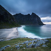 Evening light on Kvalvika beach, Lofoten Islands, Norway
