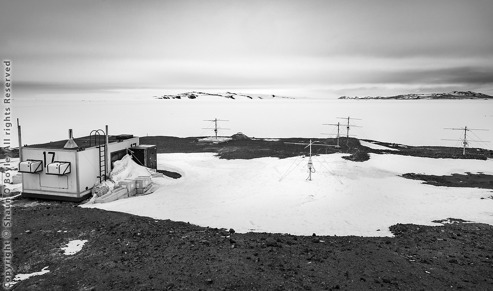 Antarctic Meteor Radar array (2019) located between McMurdo Station and Scott Base, Antarctica, on the site of the now removed CosRay building, the experiment moved to the Korean Station. The radar senses meteors over a 250 kilometer radius from the array, with an average height of about 90 kilometers, and counts approximately 2000 meteors per day.
