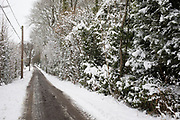 Snow scene in the Herefordshire countryside near Clifford, England, United Kingdom. With the UK experiencing one of its coldest winters and most snowfall in recent years. Finally, in March, the country experienced the final flurry and snowy weather sweptin from the East one last time.