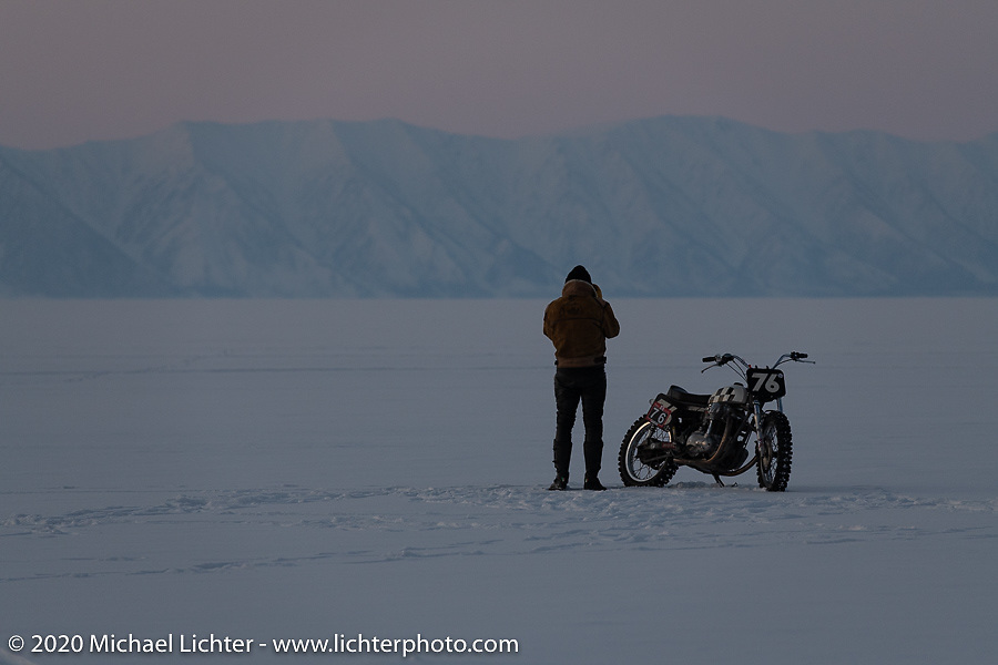 Moscow photographer Aleksei Kalabin riding his Kawasaki w650 racer after the Baikal Mile Ice Speed Festival. Maksimiha, Siberia, Russia. Friday, February 28, 2020. Photography ©2020 Michael Lichter.
