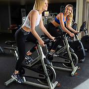 Heather Blanton and Brooke Kromer pose for a fitness shoot on Monday, April 1, 2019 in Los Angeles.