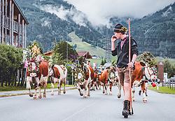 THEMENBILD - aufwendig geschmückte Kühe beim Almabtrieb von der Fürthermoar Alm. Wenn der Sommer auf der Alm gut verlaufen ist, werden die Kühe mit handgefertigen Kopfschmuck aus Tannenzweigen, Blumen und Heiligenbildern geschmückt, aufgenommen am 06. September 2019, Kaprun, Österreich // elaborately decorated cows at the drive down from the Fürthermoar Alm. When the summer has gone well, the cows are adorned with handmade head ornaments made of fir branches, flowers and pictures of saints on 2019/09/06, Kaprun, Austria. EXPA Pictures © 2019, PhotoCredit: EXPA/ Stefanie Oberhauser