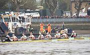 Putney, London, Varsity Boat Race, 07/04/2019, Embankment, Oxford V Cambridge, Men's Race, Women's Race, Championship Course,<br /> [Mandatory Credit: Patrick WHITE], Sunday,  07/04/2019,  2:15:10 pm,