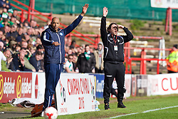 WREXHAM, WALES - Monday, May 2, 2016: Airbus UK Broughton's manager Andy Preece and The New Saints' manager Craig Harrison during the 129th Welsh Cup Final at the Racecourse Ground. (Pic by David Rawcliffe/Propaganda)