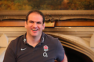 Martin Johnson laughs during a press conference after the England elite player squad trainnig session at Pennyhill Park, Bagshot, UK, on 11th March 2011  (Photo by Andrew Tobin/SLIK images)