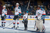 KELOWNA, CANADA - JANUARY 4: The pepsi save on foods player of the game lines up with Braydyn Chizen #22 and Michael Herringer #30 of the Kelowna Rockets against the Spokane Chiefs on January 4, 2017 at Prospera Place in Kelowna, British Columbia, Canada.  (Photo by Marissa Baecker/Shoot the Breeze)  *** Local Caption ***
