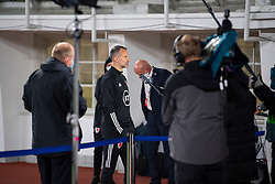 HELSINKI, FINLAND - Thursday, September 3, 2020: Wales' manager Ryan Giggs gives an interview after the UEFA Nations League Group Stage League B Group 4 match between Finland and Wales at the Helsingin Olympiastadion. Wales won 1-0. (Pic by Jussi Eskola/Propaganda)