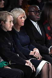 The Duchess of Cornwall and British Vogue Editor in Chief Edward Enninful on the front row at the Bethany Williams show. the Duchess presented the Queen's Award For Fashion as part of London Fashion Week, 180 Strand, London. Photo credit should read: Doug Peters/EMPICS