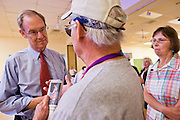 13 OCTOBER 2010 - TUCSON, AZ: Terry Goddard talks to voters after a candidate forum in Tucson. Goddard spent the day in Tucson campaigning. Goddard lost the election to sitting Governor Jan Brewer, a conservative Republican.     PHOTO BY JACK KURTZ