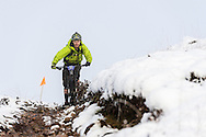 Tom Gammell descends through the snow on stage three of the Kinlochleven Enduro.