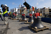 UK, Penzance - Monday, March 23, 2009: Seven of the eight bells stand on the quay before being loaded onto the Isles of Scilly Steamship Company's supply vessel the Gry Maritha to be transported to St Mary's on the Isles of Scilly. (Image by Peter Horrell / http://www.peterhorrell.com)